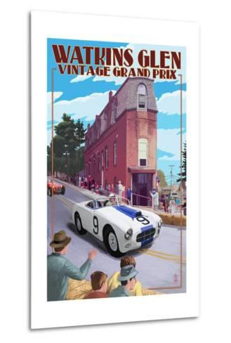Watkins Glen State Park, New York - Vintage Grand Prix-Lantern Press-Metal Print