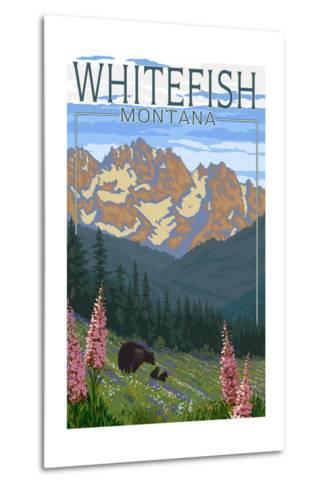 Whitefish, Montana - Bear and Spring Flowers-Lantern Press-Metal Print