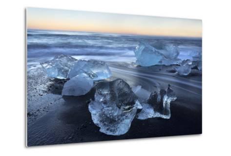 Jokulsa Beach at Sunrise, on the Edge of the Vatnajokull National Park, South Iceland-Lee Frost-Metal Print