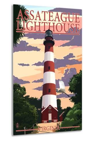 Assateague, Virginia - Lighthouse-Lantern Press-Metal Print