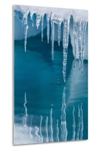 Icicles Mirrored in Calm Water from Ice Floating in the Neumayer Channel Near Wiencke Island-Michael Nolan-Metal Print