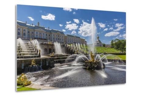 The Grand Cascade of Peterhof, Peter the Great's Palace, St. Petersburg, Russia, Europe-Michael Nolan-Metal Print
