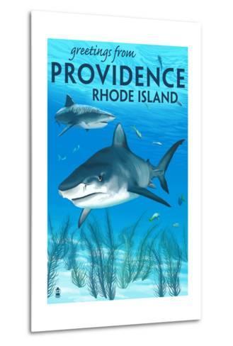 Providence, Rhode Island - Tiger Shark-Lantern Press-Metal Print