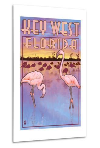 Key West, Florida - Flamingos-Lantern Press-Metal Print