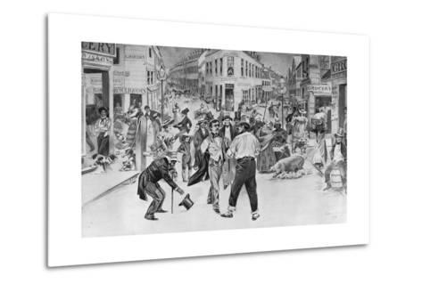 Print of an Encounter between a Swell and a Bowery Boy in the Five Points Neighborhood--Metal Print