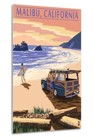 Malibu, California - Woodies on the Beach-Lantern Press-Metal Print
