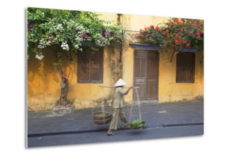 Woman Carrying Vegetables in Street, Hoi An, Quang Nam, Vietnam, Indochina, Southeast Asia, Asia-Ian Trower-Metal Print