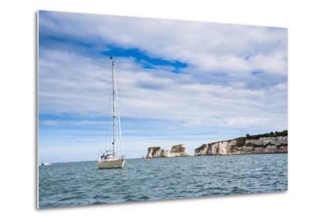 Sailing Boat at Old Harry Rocks, Between Swanage and Purbeck, Dorset, Jurassic Coast, England-Matthew Williams-Ellis-Metal Print