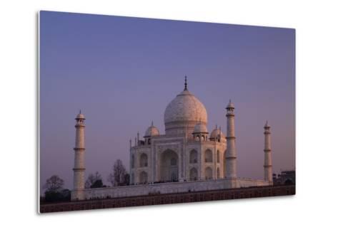 Taj Mahal North Side Viewed across Yamuna River at Sunset, Agra, Uttar Pradesh, India, Asia-Peter Barritt-Metal Print