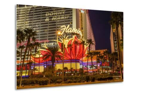 Neon Lights, Las Vegas Strip at Dusk with Flamingo Facade and Palm Trees, Las Vegas, Nevada, Usa-Eleanor Scriven-Metal Print