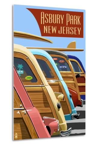 Asbury Park, New Jersey - Woodies Lined Up-Lantern Press-Metal Print