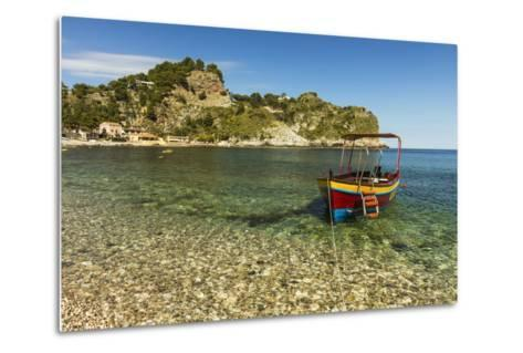 Excursion Boat Moored on Pretty Isola Bella Bay in This Popular Northeast Tourist Town-Rob Francis-Metal Print