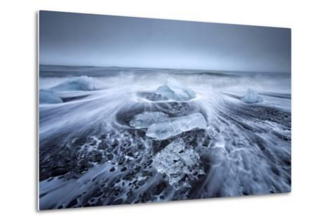 Jokulsa Beach on a Stormy Day-Lee Frost-Metal Print