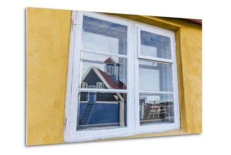 Church Reflected in Brightly Painted House Window in Sisimiut, Greenland, Polar Regions-Michael Nolan-Metal Print