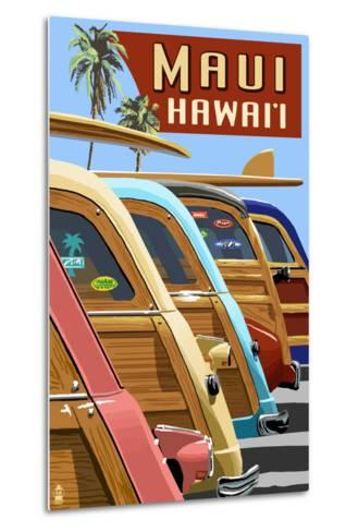 Woodies Lined Up - Maui, Hawaii-Lantern Press-Metal Print