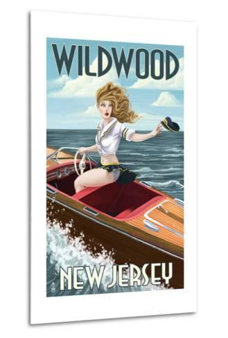 Wildwood, New Jersey - Boating Pinup Girl-Lantern Press-Metal Print