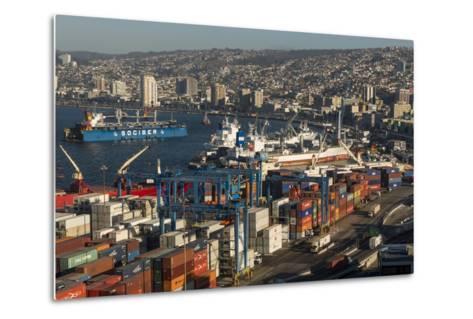 View of City and Ports from Paseo 21 De Mayo, Cerro Playa Ancha, Valparaiso-Ben Pipe-Metal Print