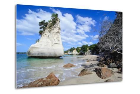 Giant Rock on the Sandy Beach of Cathedral Cove, Coromandel, North Island, New Zealand, Pacific-Michael Runkel-Metal Print