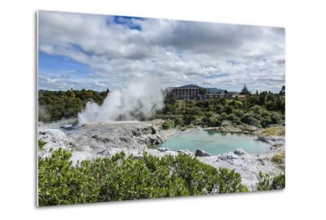 Geysirfield in the Te Puia Maori Cultural Center, Rotorura, North Island, New Zealand, Pacific-Michael Runkel-Metal Print