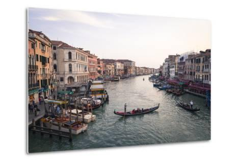 A Gondola Crossing the Grand Canal, Venice, UNESCO World Heritage Site, Veneto, Italy, Europe-Amanda Hall-Metal Print