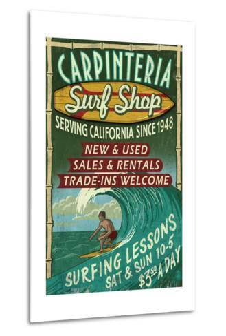 Carpinteria, California - Surf Shop Vintage Sign-Lantern Press-Metal Print