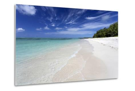 Idyllic Beach Scene with Blue Sky, Aquamarine Sea and Soft Sand, Ile Aux Cerfs-Lee Frost-Metal Print