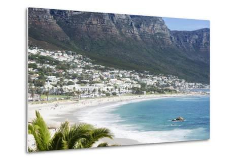 Overview of Clifton Beach with Homes and Mountains in the Bay, Cape Peninsula, Cape Town-Kimberly Walker-Metal Print