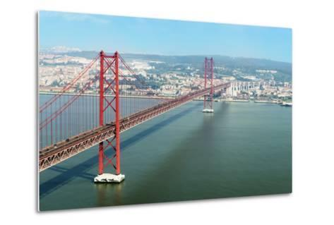 Ponte 25 De Abril (25th of April Bridge) over the Tagus River, Lisbon, Portugal, Europe-G&M Therin-Weise-Metal Print