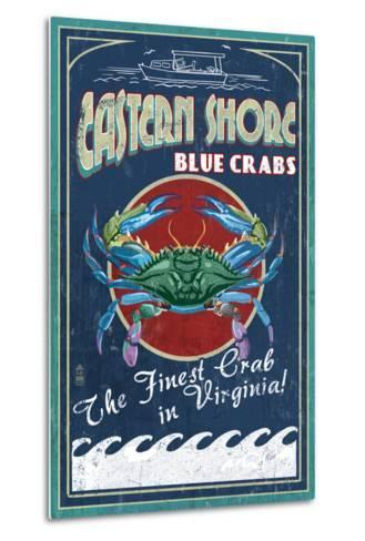 Blue Crabs Vintage Sign - Eastern Shore, Virginia-Lantern Press-Metal Print