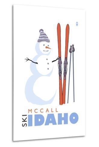 McCall, Idaho - Snowman with Skis-Lantern Press-Metal Print