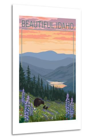 Idaho - Bear and Spring Flowers-Lantern Press-Metal Print