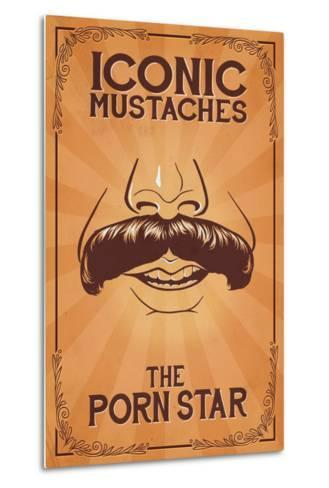 Iconic Mustaches - Porn Star-Lantern Press-Metal Print