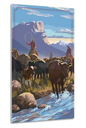 Cowboy Cattle Drive Scene-Lantern Press-Metal Print