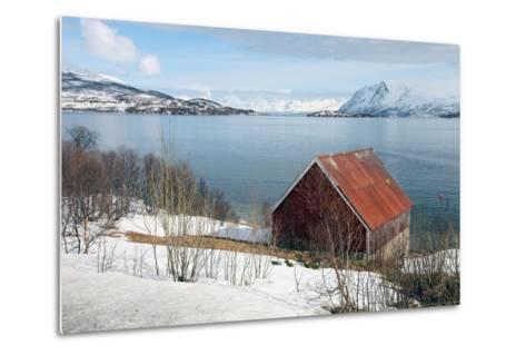 Boathouse on the Island of Kvaloya (Whale Island), Troms, Norway, Scandinavia, Europe-David Lomax-Metal Print