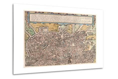 Map of Ancient Rome from Civitates Orbis Terrarum--Metal Print