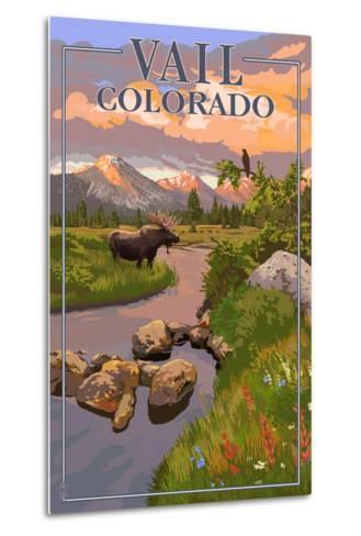 Vail, Colorado - Moose and Meadow Scene-Lantern Press-Metal Print