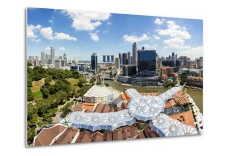 Elevated View over Fort Canning Park and the Modern City Skyline, Singapore, Southeast Asia, Asia-Gavin Hellier-Metal Print