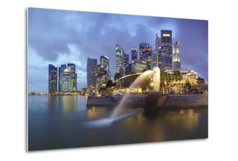 The Merlion Statue with the City Skyline in the Background-Gavin Hellier-Metal Print