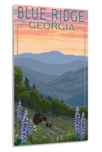 Blue Ridge Georgia - Bear Family and Spring Flowers-Lantern Press-Metal Print