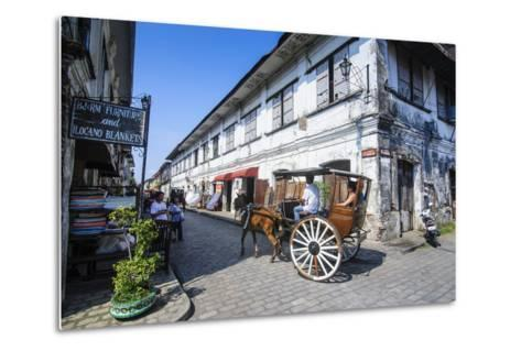 Horse Cart Riding Through the Spanish Colonial Architecture in Vigan, Northern Luzon, Philippines-Michael Runkel-Metal Print