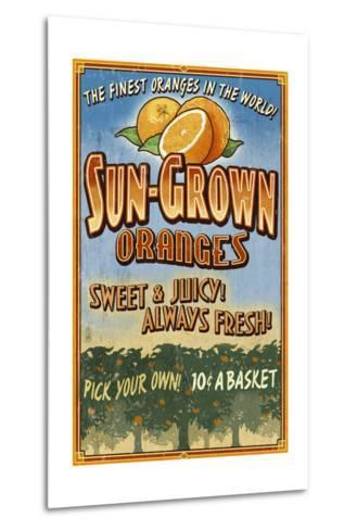Orange Orchard - Vintage Sign-Lantern Press-Metal Print