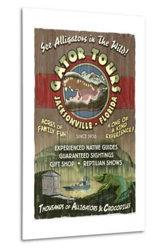 Jacksonville, Florida - Alligator Tours Vintage Sign-Lantern Press-Metal Print