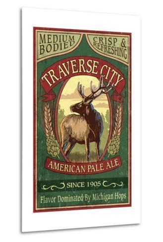 Traverse City, Michigan - Elk Head Pale Ale Vintage Sign-Lantern Press-Metal Print
