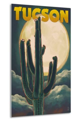 Tucson, Arizona Cactus and Full Moon-Lantern Press-Metal Print