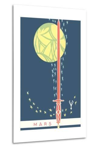 Mars: Planet, Sword and Stars--Metal Print