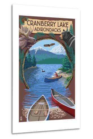Cranberry Lake, New York - Adirondacks Canoe Scene-Lantern Press-Metal Print