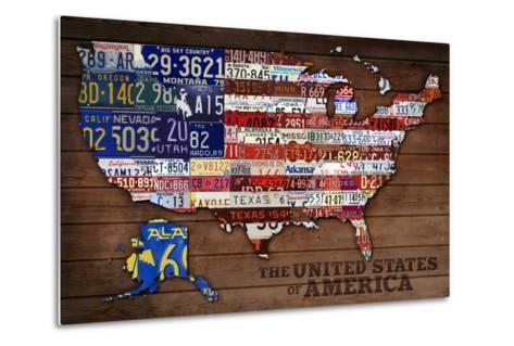 Americana - License Plate Map-Lantern Press-Metal Print