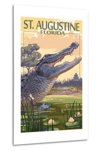 St. Augustine, Florida - Alligator Scene-Lantern Press-Metal Print
