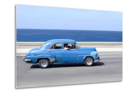 Panned' Shot of Old Blue American Car to Capture Sense of Movement-Lee Frost-Metal Print