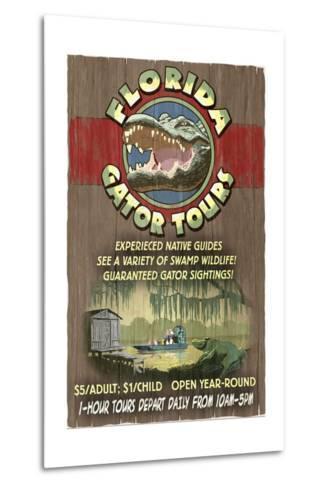 Florida - Alligator Tours Vintage Sign-Lantern Press-Metal Print